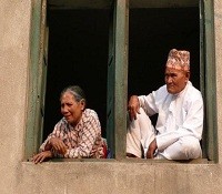Newari couple watching a festival in Thecho