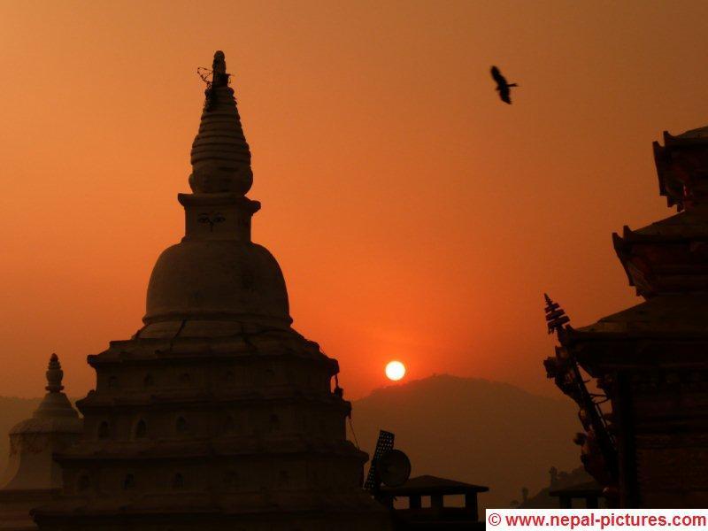 Zonsondergang vanaf Swayambunath