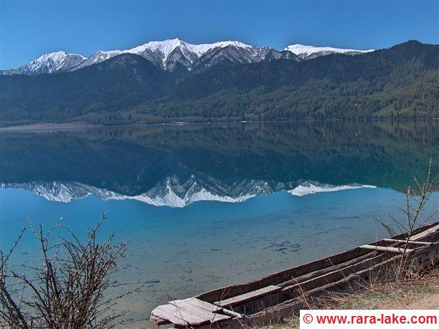 Rara lake with wooden boat